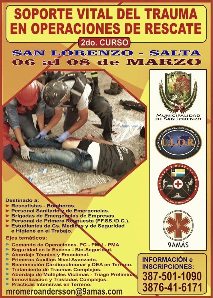 San Lorenzo será sede del curso de Soporte Vital de Trauma en Operaciones de Rescate