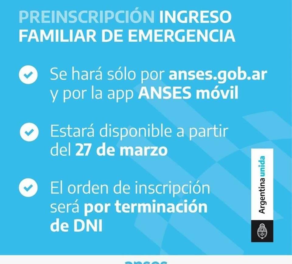 ANSES: El 27 se abre la pre-inscripción para cobrar el ingreso familiar de emergencia