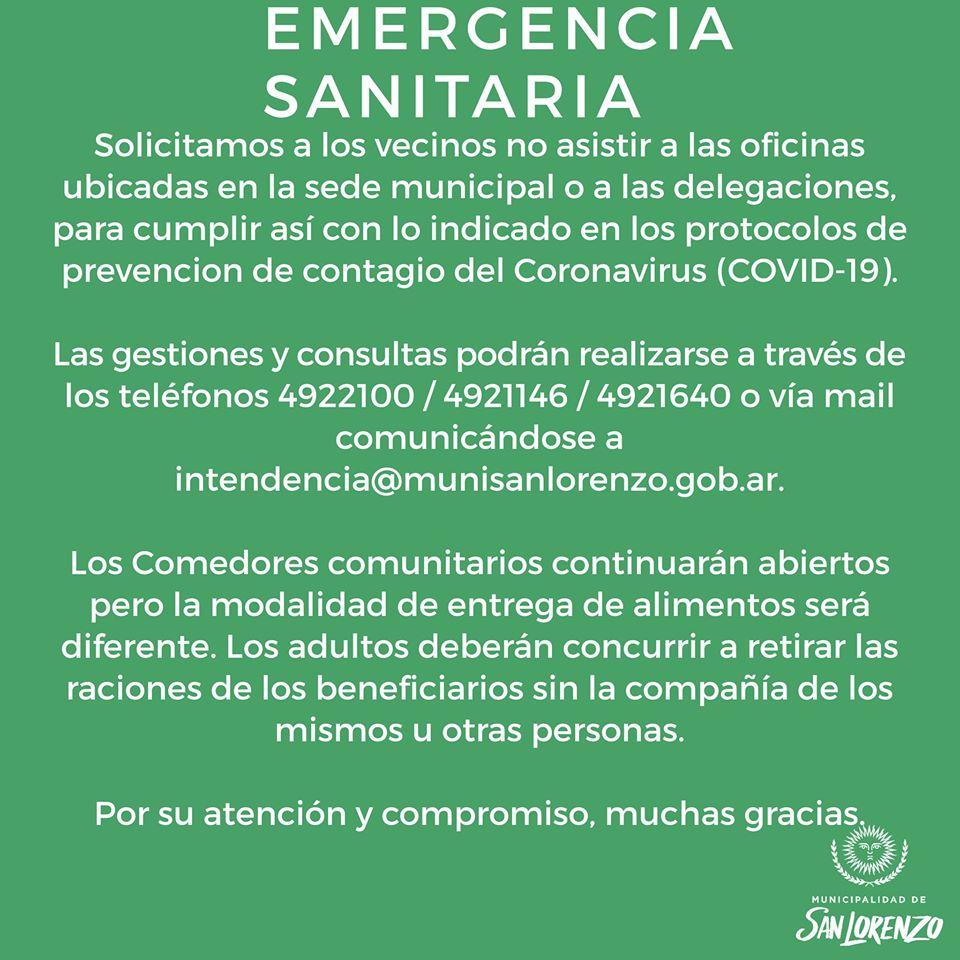 Emergencia Sanitaria: Medidas de prevención