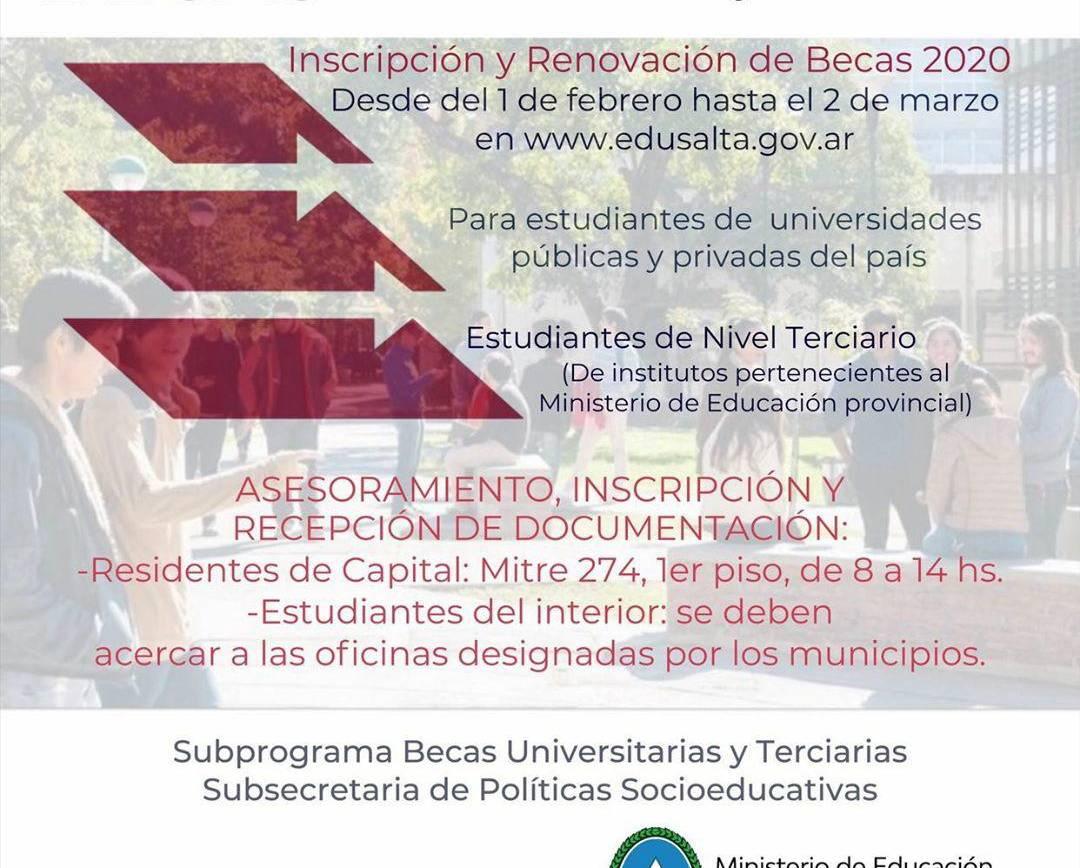 Inicia el proceso de inscripción para becas estudiantiles