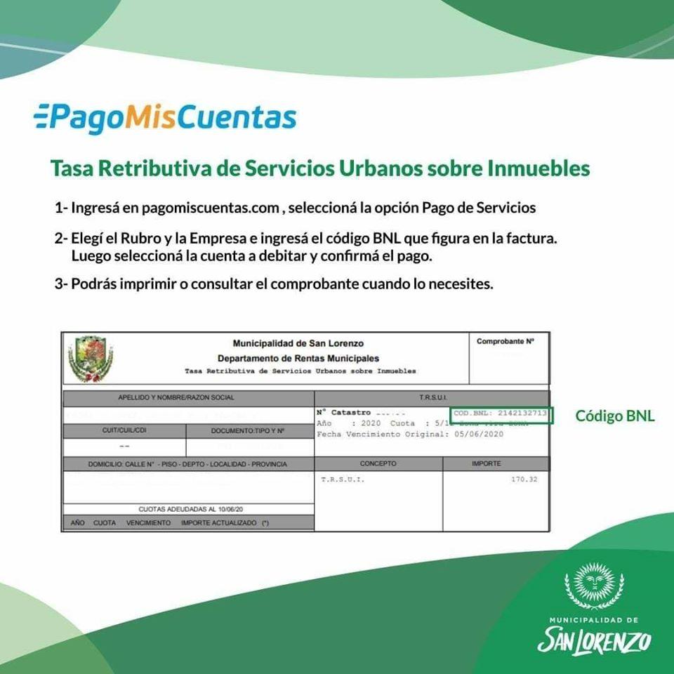 San Lorenzo: Se habilitó el pago de Impuestos y Tasas por Pago mis Cuentas