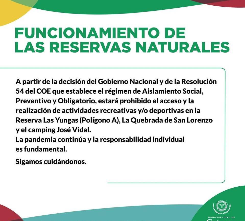 Medidas sanitarias vigentes para las reservas naturales y espacios públicos