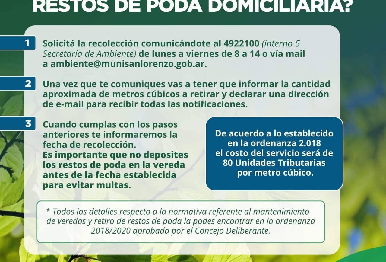 Se Reglamentó la ordenanza N° 2018/2020 que regula el servicio de recolección de restos de poda