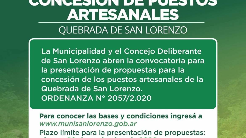 Se abre la convocatoria para postulantes a concesionarios de puestos artesanales en la Quebrada