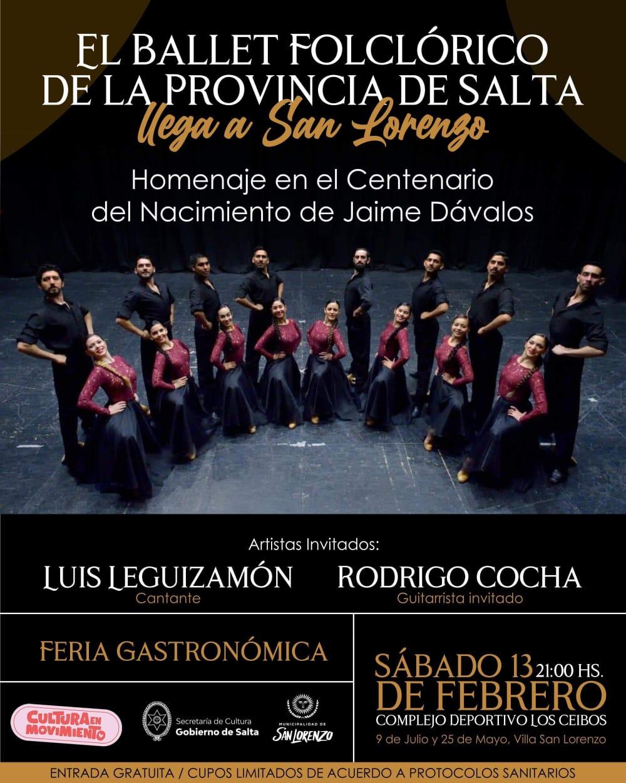 El Ballet Folklórico de la Provincia homenajeará a Jaime Dávalos